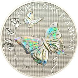 BUTTERFLIES OF LOVE Papillons Hologram Moneda Plata 1000 Francs Cameroon 2010