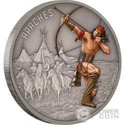 APACHE Warriors of History Guerriero Apache 1 Oz Moneta Argento 2$ Niue 2017