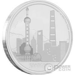 SHANGHAI Great Cities 1 Oz Moneta Argento 2$ Niue 2017