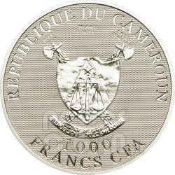 FARFALLE AMORE Ologramma Moneta Argento 1000 Franchi Camerun 2010