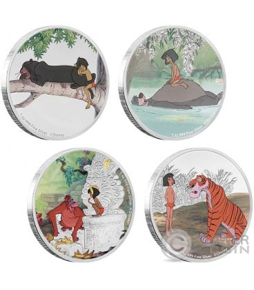 JUNGLE BOOK 50th Anniversary 4x1 Oz Silver Coins 2$ Niue 2017