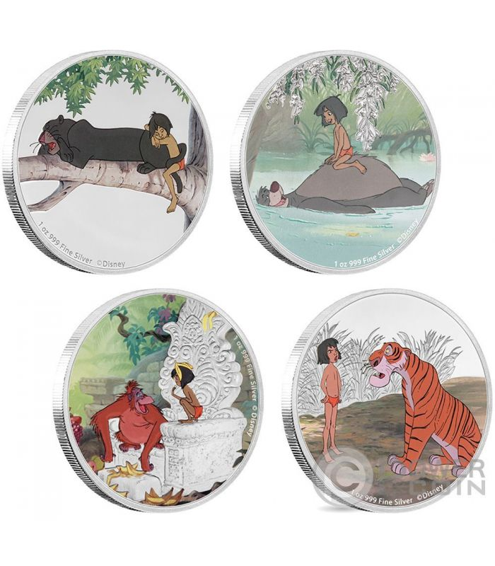 JUNGLE BOOK 50th Anniversary 4x1 Oz Silver Coins 2USD Niue 2017Power ...