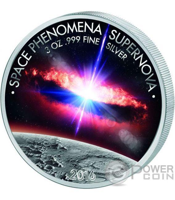 SPACE PHENOMENA SUPERNOVA Fenomeni Spaziali 3 Oz Moneta Argento 1500 Franchi Benin 2016