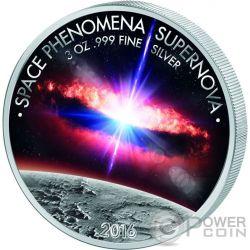 SPACE PHENOMENA SUPERNOVA 3 Oz Moneda Plata 1500 Francs Benin 2016