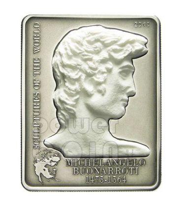 DAVID Michelangelo Marble Silver Coin 5$ Cook Islands 2010