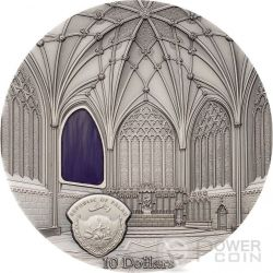 TIFFANY ART WELLS CATHEDRAL Catedral Decorated Lady Chapel Chapter House 2 Oz Moneda Plata 10$ Palau 2017