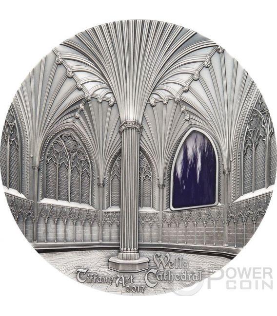 TIFFANY ART WELLS CATHEDRAL Decorated Lady Chapel Chapter House 1 Kg Kilo Серебро Монета 50$ Палау 2017