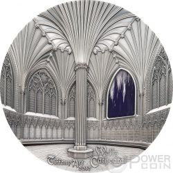 TIFFANY ART WELLS CATHEDRAL Catedral Decorated Lady Chapel Chapter House 1 Kg Kilo Moneda Plata 50$ Palau 2017