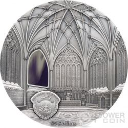 TIFFANY ART WELLS CATHEDRAL Decorated Lady Chapel Chapter House 1 Kg Kilo Серебро Монета 50$ Палау 2017