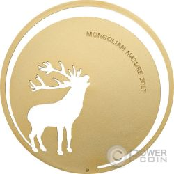 ROARING DEER Mongolian Nature Ciervo Rugente Moneda Plata 500 Togrog Mongolia 2017