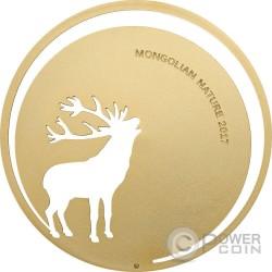 ROARING DEER Mongolian Nature Silber Münze 500 Togrog Mongolia 2017