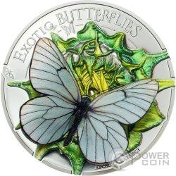 APORIA CRATAEGI Farfalla 3D Exotic Butterflies Moneta Argento 500 Togrog Mongolia 2017