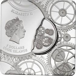 TIME CAPSULE Capsula Del Tiempo Forma Cuadrada Moneta Plata 5$ Cook Islands 2017