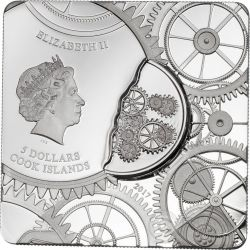 TIME CAPSULE Square Shaped Серебро Монета 5$ Острова Кука 2017