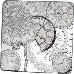 TIME CAPSULE Capsula Del Tempo Forma Quadrata Moneta Argento 5$ Cook Islands 2017