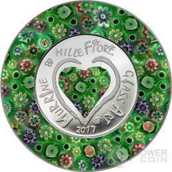 MURRINE MILLEFIORI GLASS ART Murrina Vetro Murano Moneta Argento 5$ Cook Islands 2017