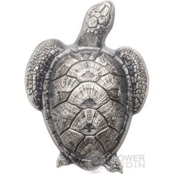 SEA TURTLE Shaped Forma Tartaruga Moneta Argento 10$ Palau 2017