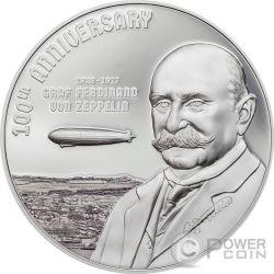 GRAF ZEPPELIN 100 Aniversario 3 Oz Moneda Plata 20$ Cook Islands 2017