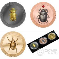 SCARAB SELECTION Escarabajos Set 3x1 Oz Monedas Plata 5$ Cook Islands 2017