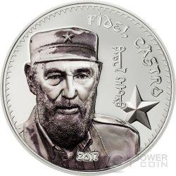 FIDEL CASTRO Cuba 1 Oz Moneda Plata 1000 Togrog Mongolia 2017