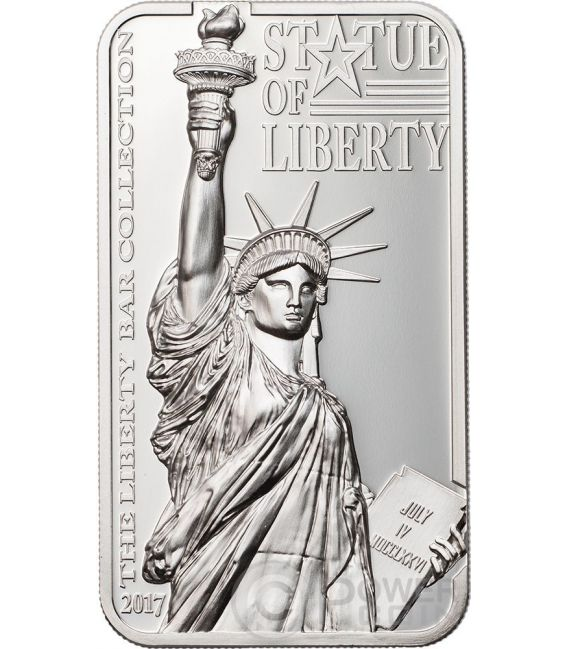 STATUE OF LIBERTY Liberty Bar Collection 2 Oz Silver Coin 10$ Cook Islands 2017