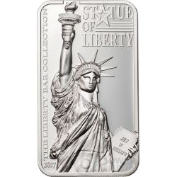 STATUE OF LIBERTY Estatua de la Libertad Liberty Bar Collection 2 Oz Moneda Plata 10$ Cook Islands 2017
