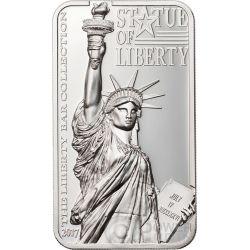 STATUE OF LIBERTY Estatua de la Libertad Liberty Bar Collection 2 Oz Moneda Plata 10$ Cook Islands 2017