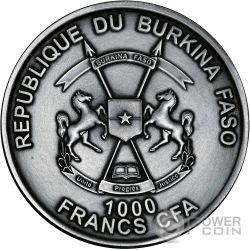 SELACHII World of Evolution Sharks Tiburones 1 Oz Moneda Plata 1000 Francos Burkina Faso 2016