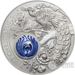 PAVO CHRISTATUS Peacock Royal Delft Silver Coin 10$ Cook Islands 2017