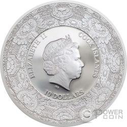 PAVO CHRISTATUS Peacock Royal Delft Silver Coin 10$ Cook Islands 2017