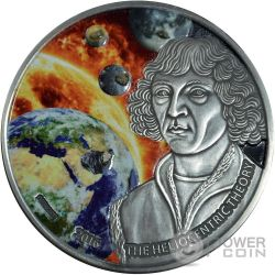 HELIOCENTRIC THEORY Nicolaus Copernicus 1 Oz Silver Coin 1000 Francs Burkina Faso 2016
