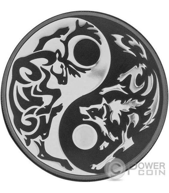 PREDATOR PREY Yin Yang Rhodium Artist Signed Set 4x1 Oz Silber Münzen 5$ Cook Islands 2014 2015 2016 2017