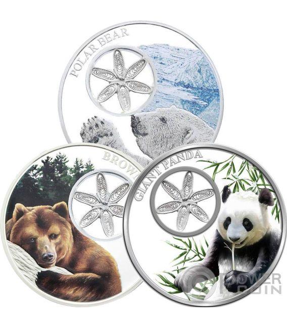Snowflake Bears Set 3x1 Oz Silver Coins 1 Tokelau 2015