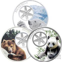 SNOWFLAKE BEARS Set 3x1 Oz Silver Coins 1$ Tokelau 2015 2016 2017