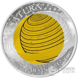 SATURN Niobium Solar System Silber Münze 2$ Palau 2017