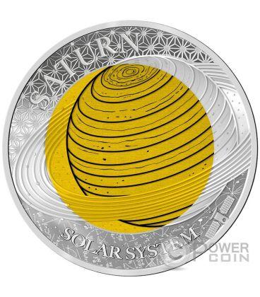 SATURN Niobium Solar System Silver Coin 2$ Palau 2017