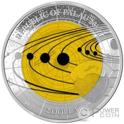 SATURN Saturno Niobio Solar System Moneda Plata 2$ Palau 2017