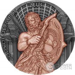 ZEUS Gods of Olympus 2 Oz Moneta Argento 5$ Niue 2017