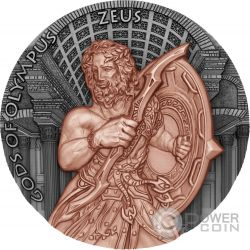 ZEUS Gods of Olympus 2 Oz Moneta Argento 5$ Niue Island 2017