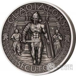 SECUTOR Gladiators Inseguitore Gladiatori 2 Oz Moneta Argento 5$ Isole Salomone 2017