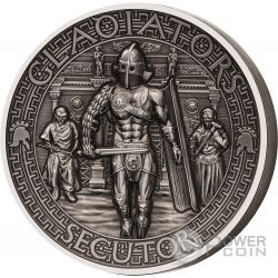 SECUTOR Gladiators Inseguitore Gladiatori 2 Oz Moneta Argento 5$ Solomon Islands 2017