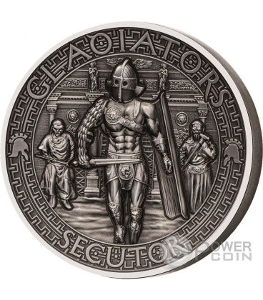 SECUTOR Chaser Gladiators 2 Oz Silver Coin 5$ Solomon Islands 2017