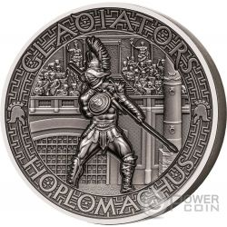 HOPLOMACHUS Hoplite Gladiators 2 Oz Silver Coin 5$ Solomon Islands 2017