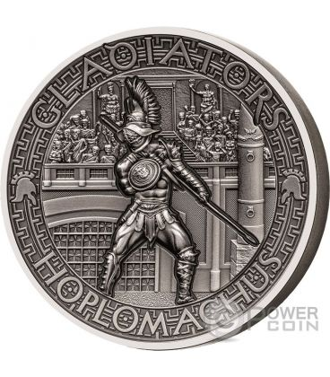 HOPLOMACHUS Hoplite Gladiators 2 Oz Silver Coin 5$ Solomon Islands 2017