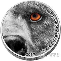 KODIAK BEAR Orso Kodiak Natures Eyes 2 Oz Moneta Argento 2000 Franchi Congo 2017