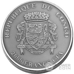 KODIAK BEAR Natures Eyes 2 Oz Серебро Монета 2000 Франков Конго 2017