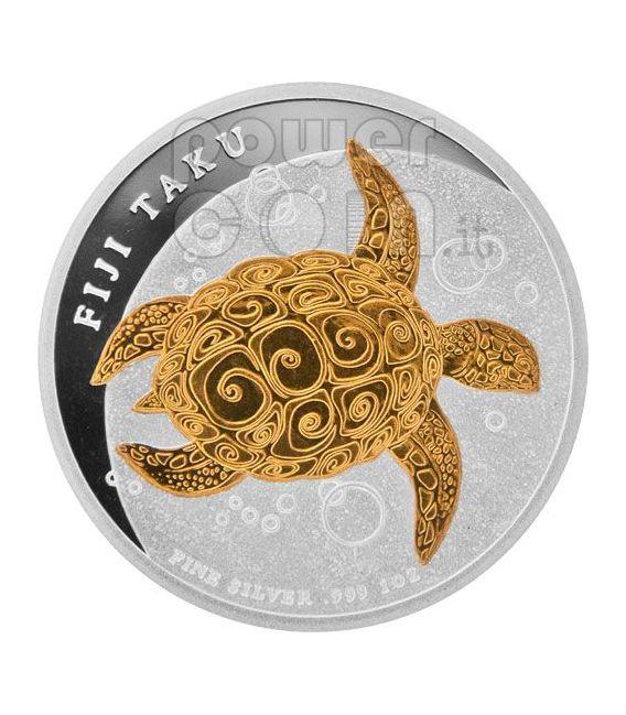 TAKU TURTLE Hawksbill Gilded Moneda Plata 2$ Fiji 2010
