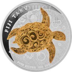TAKU TURTLE Hawksbill Tartaruga Marina Moneta Argento 2$ Fiji 2010