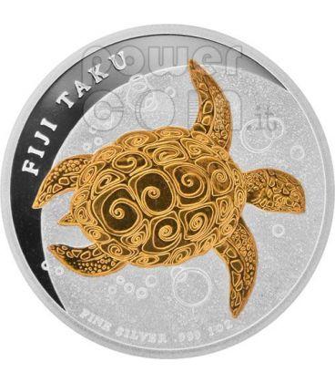 TAKU TURTLE Hawksbill Gilded Silver Coin 2$ Fiji 2010