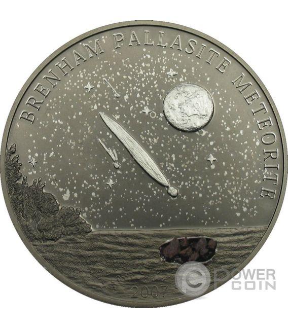 BRENHAM PALLASITE Meteorite Palladio Moneta Argento 5$ Cook Islands 2007